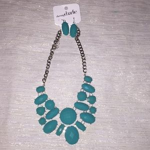 Teal statement necklace and matching earrings
